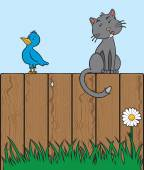 Bluebird and cat sitting on a fence eyeing each other with different intentions