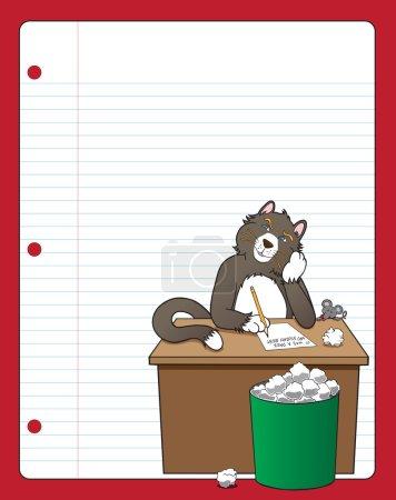 Illustration pour Chat avec bloc de l'écrivain tente de trouver quelque chose pendant qu'une souris regarde - image libre de droit