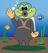 Underwater waving frogman