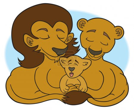 Lion father and mother with their cub...