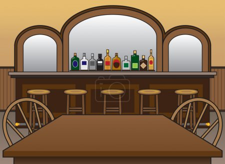 Saloon with stools and table