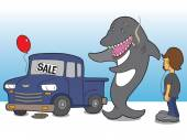 Slimy shark salesman attempting to sell piece of junk to teenager