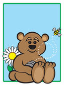 Cartoon bear with hive that a bee has just flown from