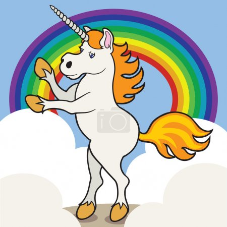 Unicorn with clouds and rainbow