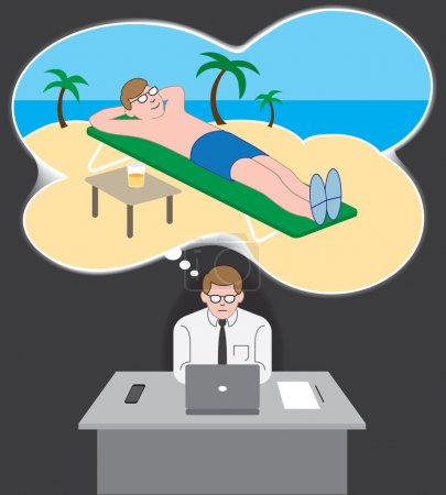 Illustration for Man doing work in his office dreaming about vacationing somewhere warm and tropical - Royalty Free Image