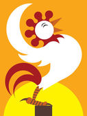 Cartoon Sunrise Rooster