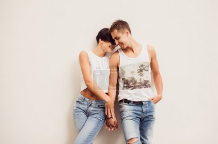 Young hipster couple  in love