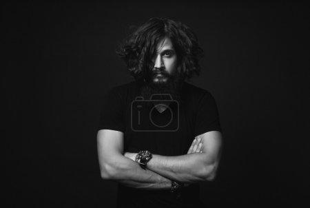 man in a black shirt
