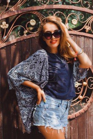 Happy stylish hipster girl