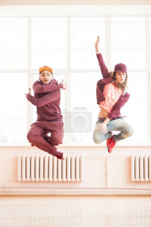 couple  posing in the sports hall