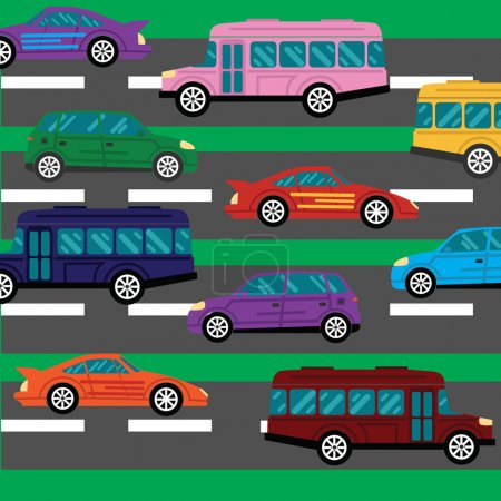 Illustration for Road collapse and traffic jams background with lots of cars flat vector illustration EPS8 - Royalty Free Image