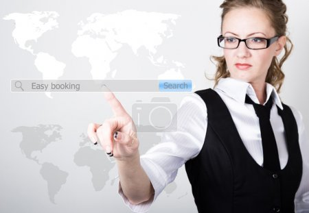 Easy booking written in search bar on virtual screen. Internet technologies in business and home. woman in business suit and tie, presses a finger on a virtual screen