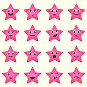Emoji starsfish icons set