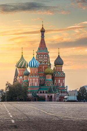Photo for Moscow, Russia, Red square and view of St. Basil's Cathedral - Royalty Free Image