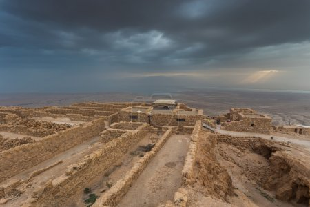 Masada fortress in Judaean Desert.