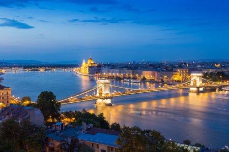 Night panorama of Budapest city