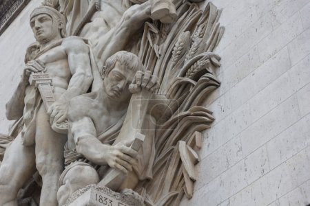 Photo for Relief sculpted on the facades of the Arc de Triomphe de l'Etoile - Royalty Free Image