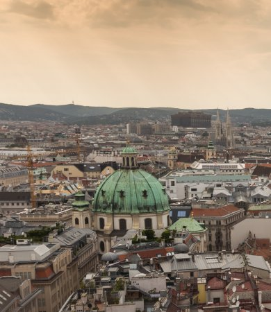 Vienna city at foggy day