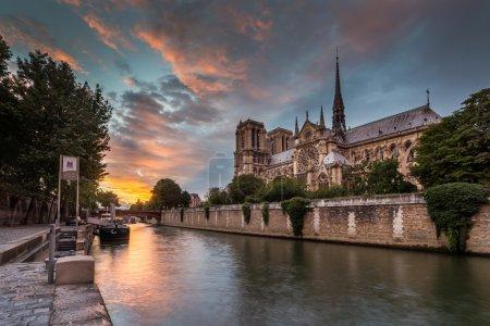 Photo pour Vue pittoresque de la cathédrale Notre Dame de Paris au crépuscule, France - image libre de droit