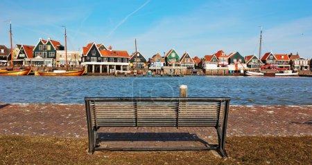 Bench on quay in Zaandam