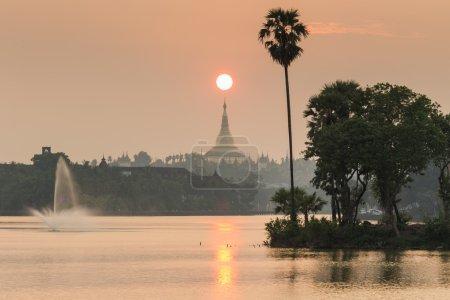 Shwedagon pagoda and fountains