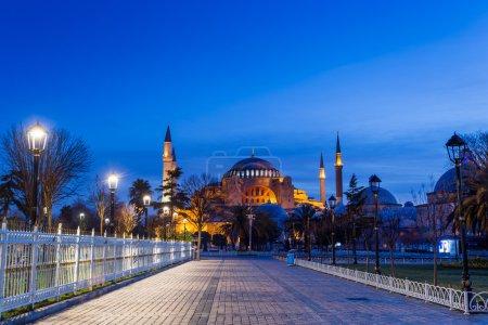 Photo pour Belle mosquée et toits de quartier le soir à Istanbul, Turquie - image libre de droit