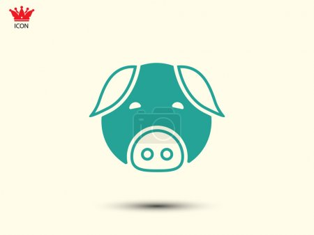 Illustration for Pig head or face icon Vector - Royalty Free Image
