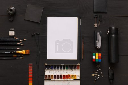 top view designer workplace