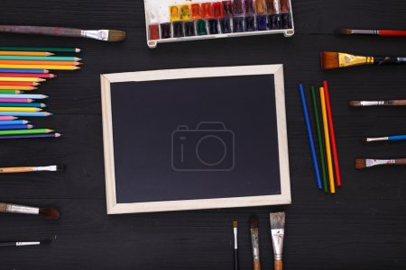 Desktop workplace for designer, artist, painter