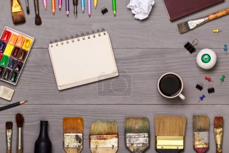 Top view of designer workplace