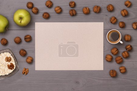Photo for Good morning with a cup of coffee and breakfast. Healthy food. Dietetic foods. Delicious breakfast. Post blog social media. View from above with copy space. Banner template layout mockup top view - Royalty Free Image