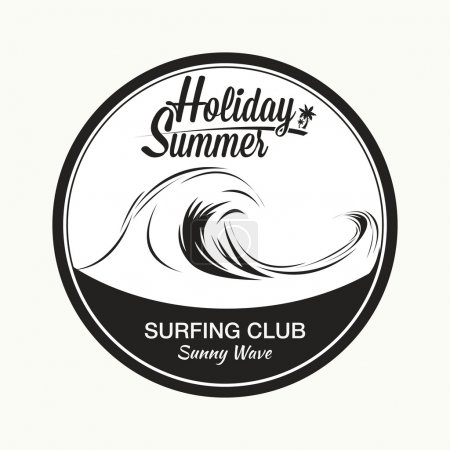 Surfing club, sunny wave.
