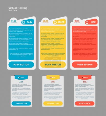 Illustration for Set web tariffs banners. interface for the site. ui ux vector banner for web app. Pastel pricing table, banner, order, box, button, list and bullet with plan for website in flat design - Royalty Free Image