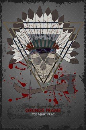 Grunge skull print for t-shirt