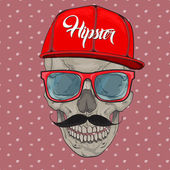 HIPSTER skull print for t-shirt Cranium modern street style attributes Vector art skull with sunglasses and hat