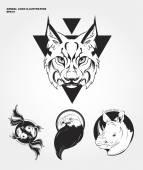 Hipster wild animals logos