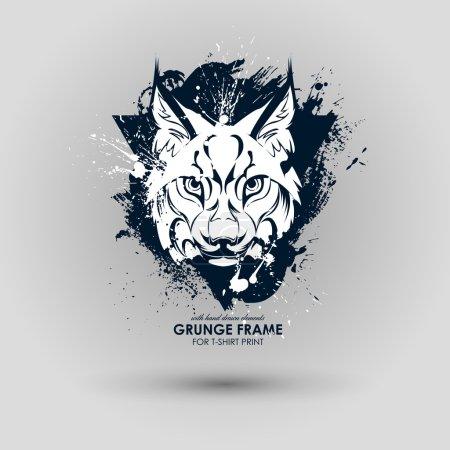 Illustration pour Abstrait animal logo grunge. Imprimé HIPSTER pour t-shirt. Animaux attributs de style de rue moderne. L'art vectoriel. Lynx pour affiche - image libre de droit