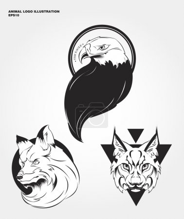 Illustration pour Logos animaux vecteur. Les animaux sauvages de hipster imprimer pour les T-shirts et autres vêtements. Icônes d'aigle, lynx, renard - image libre de droit