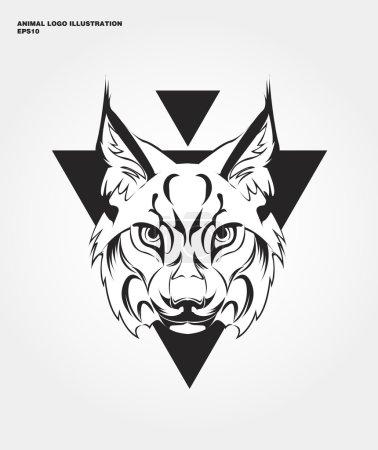Illustration pour Logo animal abstrait. Hipster imprimé animal sauvage pour t-shirts et autres vêtements. Différence d'icônes - Lynx - image libre de droit