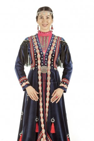 Studio photo of the girl east type in Bashkir national costume, a nation living on the territory of Russia