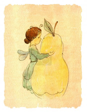 Elf girl and pear