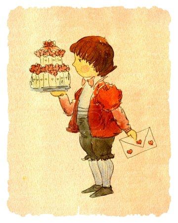 Photo pour Illustration de livre coloré de garçon mignon tenant grand gâteau d'anniversaire dans la main, carte de vœux - image libre de droit