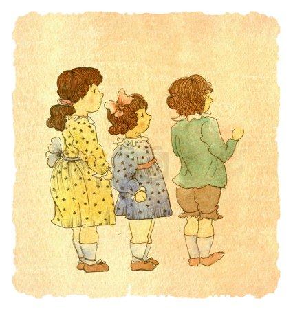 Mädchen in süßen Kleidern mit Jungen
