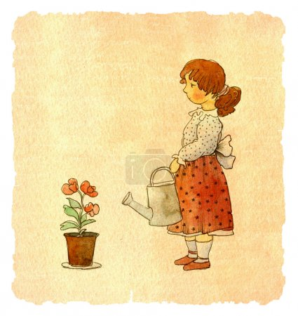 Photo for Colorful book illustration of cute girl holding water pot, greeting card - Royalty Free Image