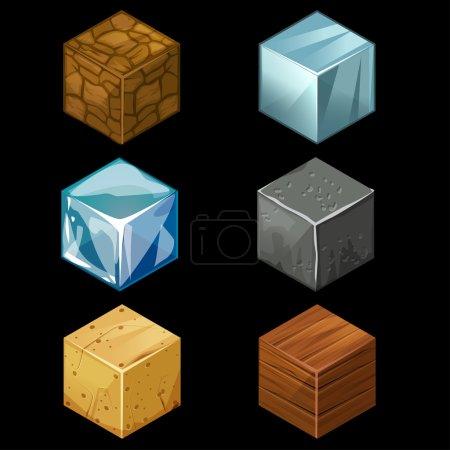 3D Game block Isometric Cubes Set elements
