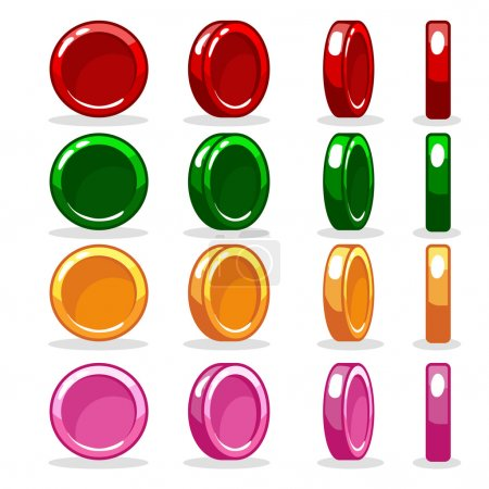 Cartoon colorful Coin set, game Rotation animation. jpg copy