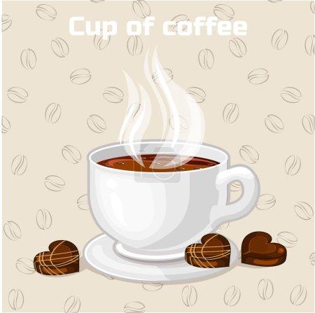 Photo pour Tasse de café et de bonbons.. Ensemble de nourriture et de boissons, copie jpg - image libre de droit
