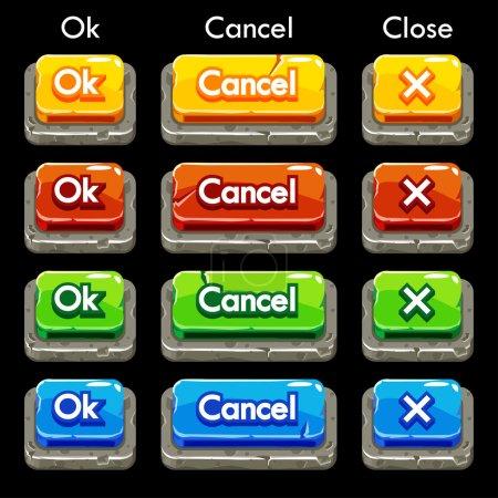 Photo pour Boutons carrés en pierre colorés de bande dessinée pour le jeu ou la conception Web, ensemble d'éléments gui - image libre de droit