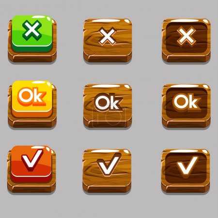 Wood square buttons for game , OK,Yes, close, jpg copy