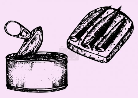 Illustration for Tin can, sprat, sandwich, doodle style, sketch illustration - Royalty Free Image